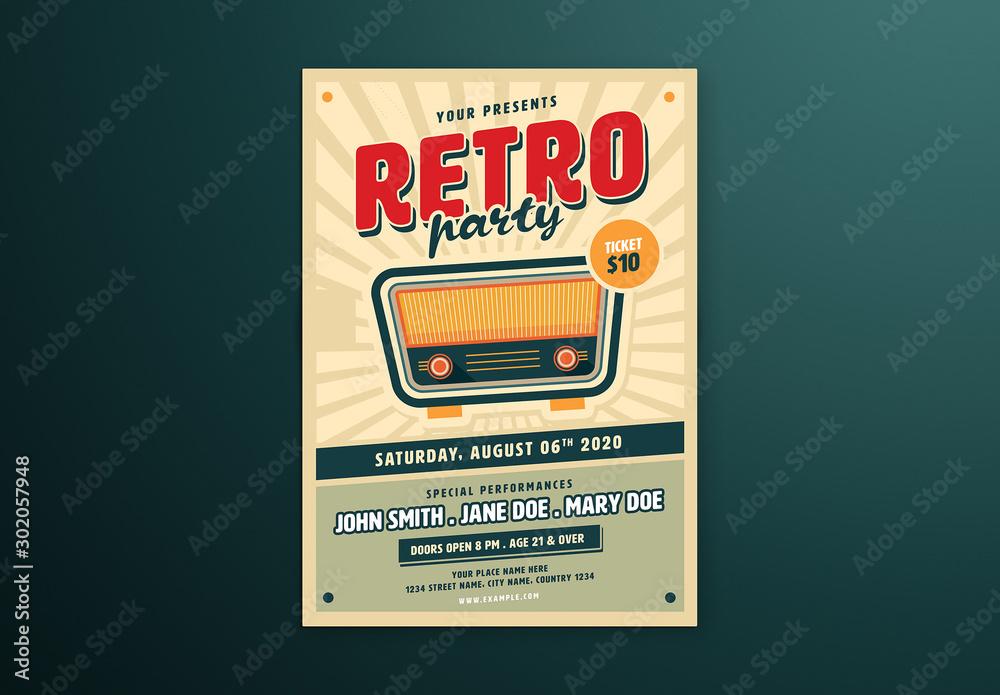Fototapety, obrazy: Retro Music Flyer Layout