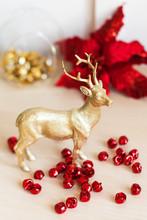 Golden Christmas Reindeer With...