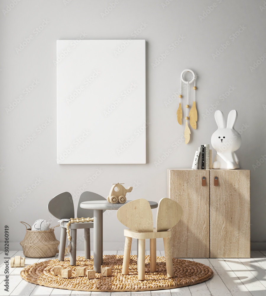Fototapeta mock up poster frame in children bedroom, Scandinavian style interior background, 3D render, 3D illustration