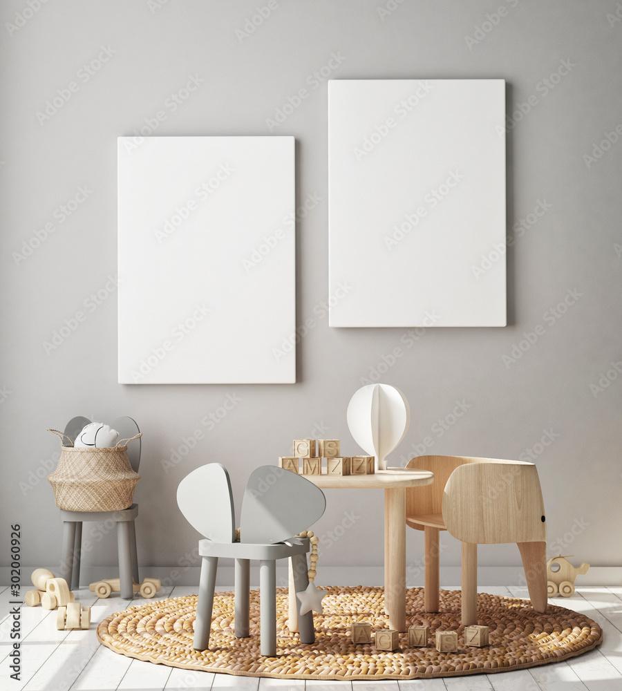 Fototapety, obrazy: mock up poster frame in children bedroom, Scandinavian style interior background, 3D render, 3D illustration