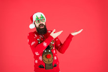 Sweater With Deer. Knitted Sweater. Happy New Year. Christmas Spirit. Funny Outfit. Clothes Shop. Buy Festive Clothing. Holidays Accessories. Hipster Bearded Man Wear Winter Sweater And Hat. New Year