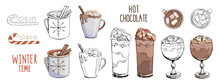 Set Of Hand Drawn Vector Illustrations Isolated On White. Hot Chocolate With Christmas Candy Cane And Marshmallow. Design Of Cocktails For Menu Decoration. New Year Mood Board. Contour And Color