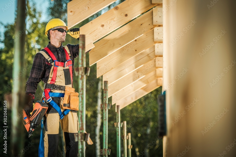 Fototapety, obrazy: Worker with Nail Gun