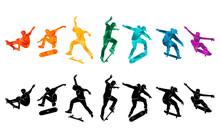 Skate People Silhouettes Skateboarders Colorful Vector Illustration Background Extreme Skateboard, Skateboarding