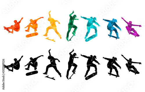 Valokuvatapetti Skate people silhouettes skateboarders colorful vector illustration background e