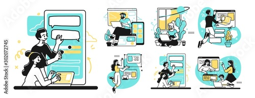Obraz Designing Developing and programming technologies illustrations. Collection of scenes at office. Outline vector style. - fototapety do salonu