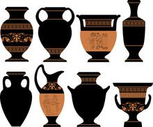Vector Illustration Of Greek Vases And Amphora