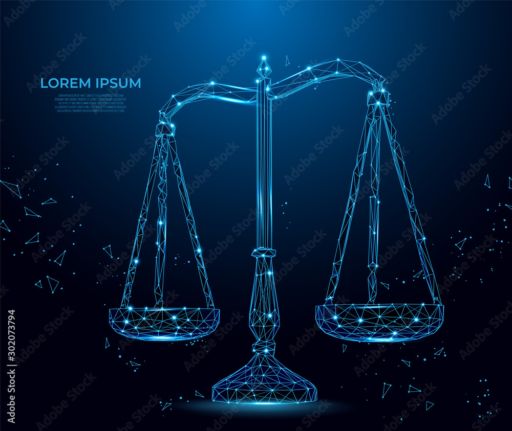 Fototapety, obrazy: Scale balance justice. Business equality. Concept of law.  Polygon vector wireframe concept.  mesh art.