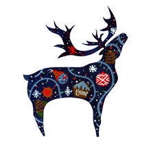 Watercolor Silhouette On White Background Of Standing Blue Reindeer With Raised Head And Color Winter Holliday Theme Patterns On Body