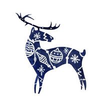 Watercolor Silhouette On White Background Of Standing Blue Deer With White Winter Holliday Theme Patterns On Body