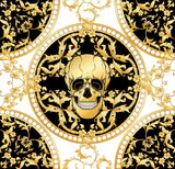 Seamless floral pattern, background In baroque style with human skull in gold white and black colors vector illustration