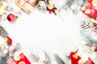 canvas print picture - Christmas background with fir tree and decorations on white.