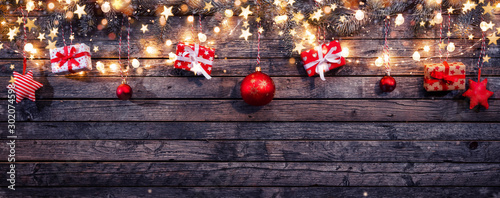 Fotografiet  Christmas rustic background with wooden planks