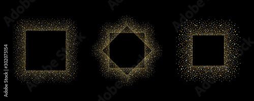 Fototapeta Golden dot frames set, collection