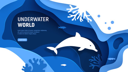 Fototapeta Delfin Underwater world page template. Paper art underwater world concept with dolphin silhouette. Paper cut sea background with dolphin, waves, fish and coral reefs. Craft vector illustration