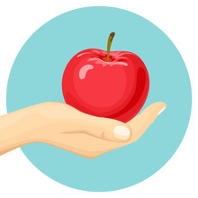 Woman's Hand Holds A Red Apple...