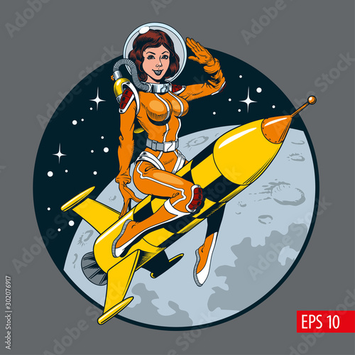 Fotografía A vintage comic style sexy astronaut woman in space suit and helmet riding a rocket