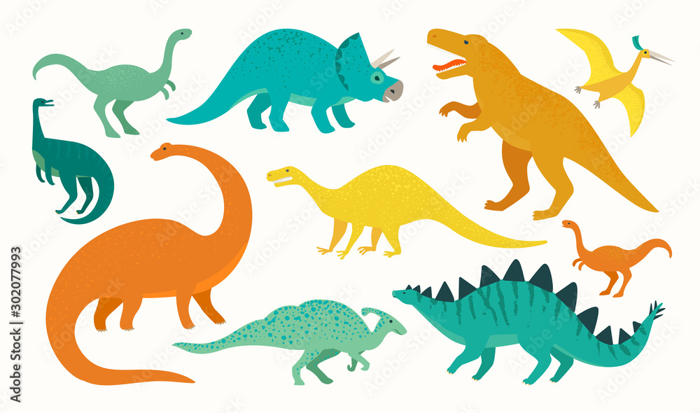 Cartoon dinosaur set. Cute dinosaurs icon collection. Colored predators and herbivores. Flat vector illustration isolated on white background.