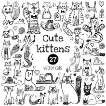 Cat Doodle Set. Cute Sketch An...