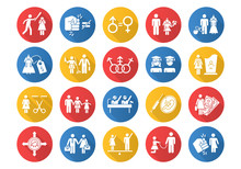 Gender Equality Flat Design Long Shadow Glyph Icons Set. Sexual Slavery. Female Economic Activity. Transgender. Employment, Work. Female, Male Politics. Family Planning. Vector Silhouette Illustration