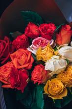 Colorful Roses Bouquet Flowers Romanric