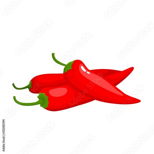 Fotografie, Obraz Hot chili pepper isolated on white background.