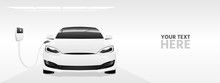 White Electric Car With A Charging Station. Vector Banner Template