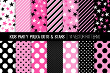 Hot Pink, Pink, Black And White Polka Dots, Stars And Stripes Vector Patterns. Cute Girly Backgrounds. Kids Party Decor. Children Birthday Invitation Backdrops. Pattern Tile Swatches Included.
