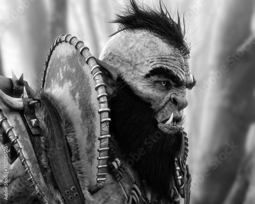 Photo Portrait side profile of an armored orc patrolling the woods in black and white