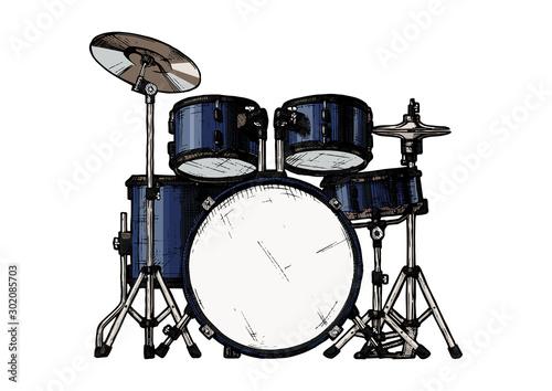 Fotomural illustration of drum kit