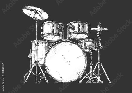 Canvas-taulu illustration of drum kit
