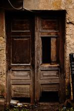 Old Broken Wooden Brown Door W...