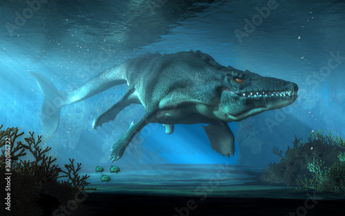 Fotomural An mosasaurus swims towards you in shallow seas