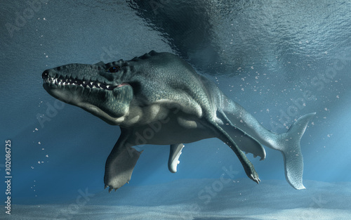 An mosasaur swims towards you in shallow seas фототапет