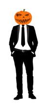 Elegant Macho Man With Pumpkin Head. Halloween Mask Over Manager Face. Confident Leader Standing. Businessman Spooky Evil Smile Vector Illustration. Handsome Man In Black Suite With Hands In Pockets.