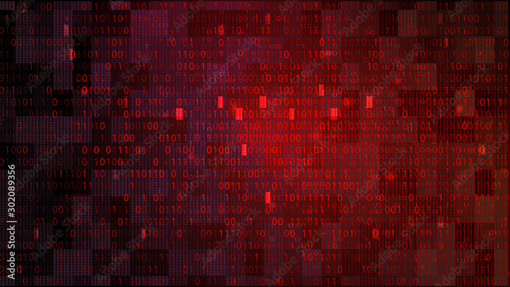 Fototapeta Abstract Technology Binary Code Dark Red Background. Cyber Attack Concept