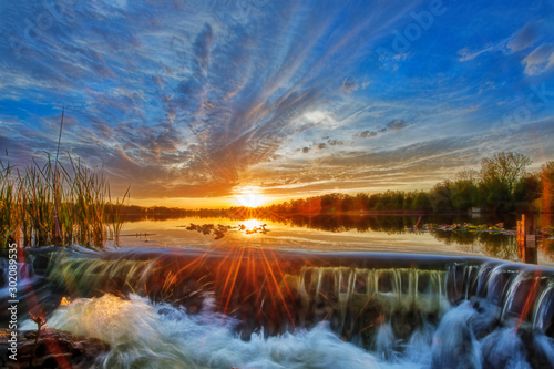 Wall Murals Water lilies Sunset at the Spillway