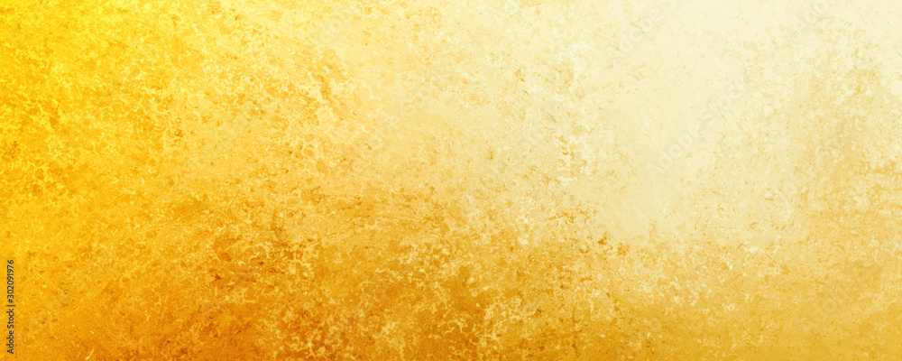 Fototapeta Yellow gold  background texture, old distressed vintage grunge in faded white spotlight design in upper corner and gradient hot bright color abstract textured design from dark to light