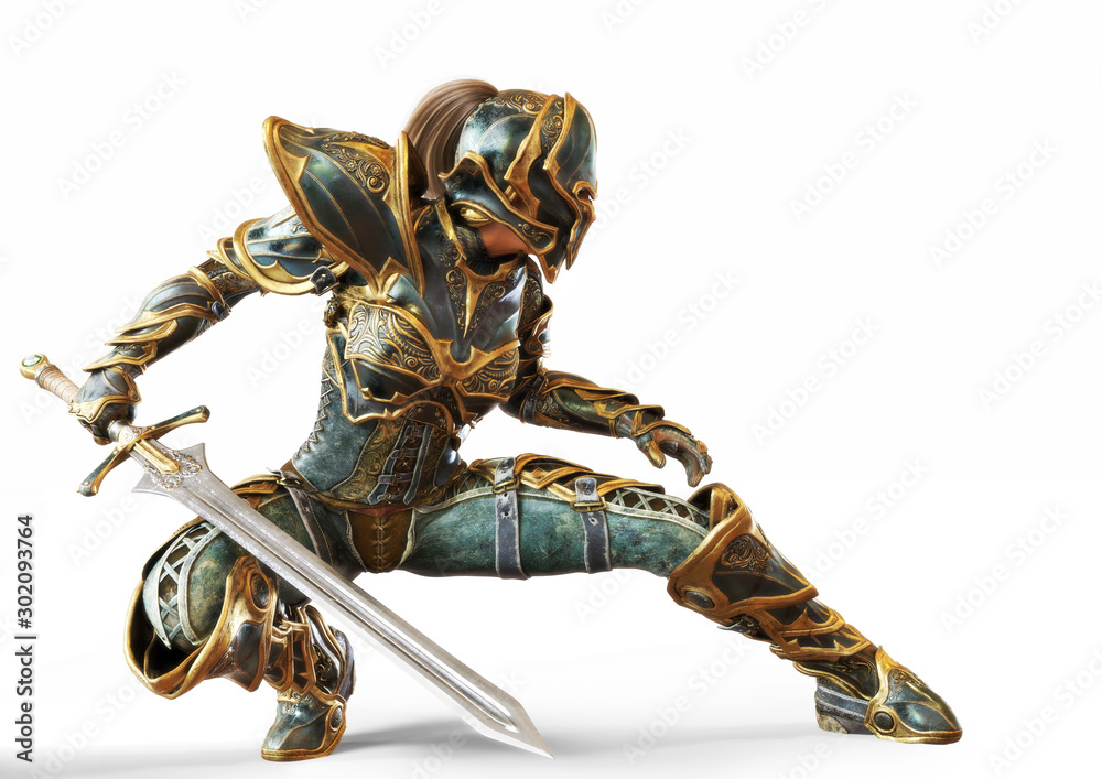Fototapeta Knight captain female posing with her sword in a fighters combat stance on an isolated white background. 3d rendering