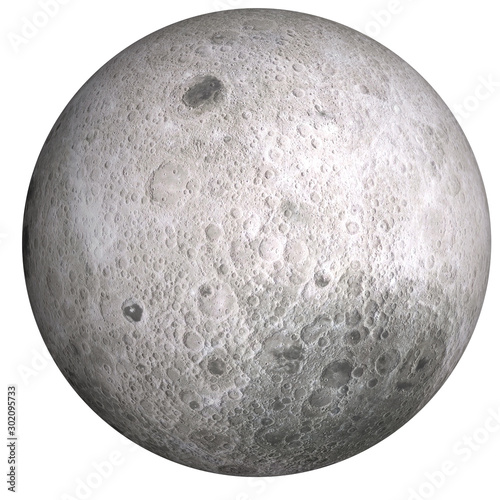 Photo  High detailed Dark side of the moon isolated