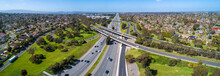 Aerial Panorama Of Monash Freeway And Wellington Road Interchange In Mulgrave Suburb Of Melbourne, Australia