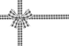 Black And White Buffalo Plaid Christmas Gift Bow And Ribbon Arranged As Wrapped Gift Box Isolated On A White Background