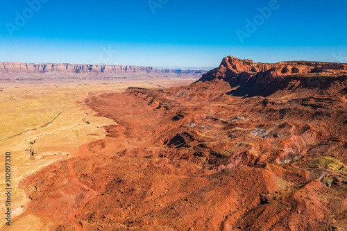 Recess Fitting Brick Aerial view of Arizona nature. Orange, red landscape hill, blue sky. Arizona state. USA