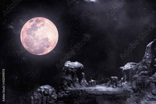 Obraz During the night time, the rocky mountains had full moon and stars. - fototapety do salonu
