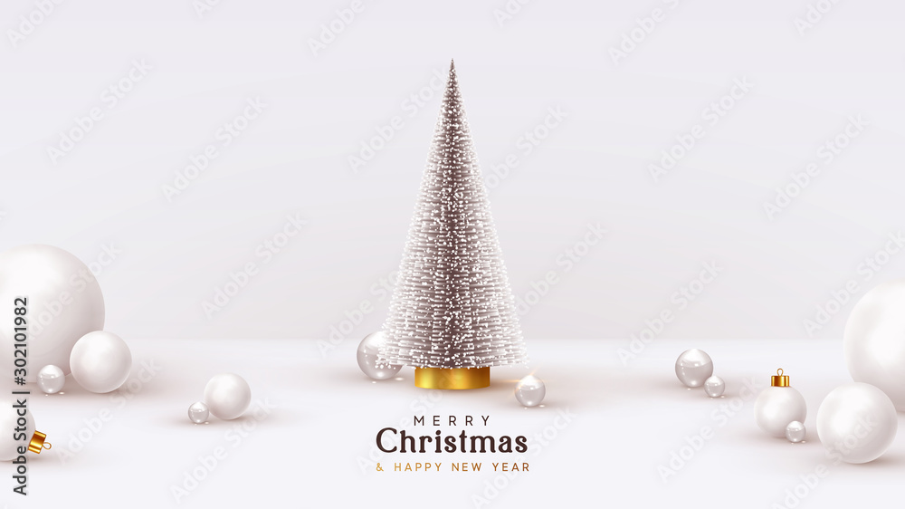 Fototapety, obrazy: Christmas and New Year background. Xmas pine fir lush tree. White glass balls, transparent round 3d spheres, render illustration. Bright Winter holiday composition. Greeting card, banner, poster