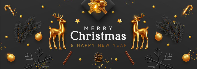 Fototapeta na wymiar Christmas banner. Xmas Background with realistic objects, Gold Metal Deer, spruce branches, gift boxes. New Year's traditional decorations, viewed from above. Horizontal poster, header, website.