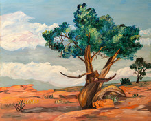 Naive Style Oil Painting Of The A Poplar Trees And Desert Plants In The Arid Landscape Of Arizona Or Nevada, In Southwest United States.