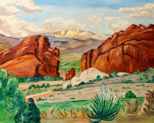 Naive Style Oil Painting Of The Grand Canyon Mountains And Arid Landscape Of Arizona Or Nevada, In Southwest United States.