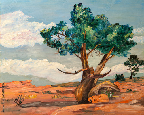 Fotografie, Obraz  Naive style oil painting of the a poplar trees and desert plants in the arid landscape of Arizona or Nevada, in southwest United States