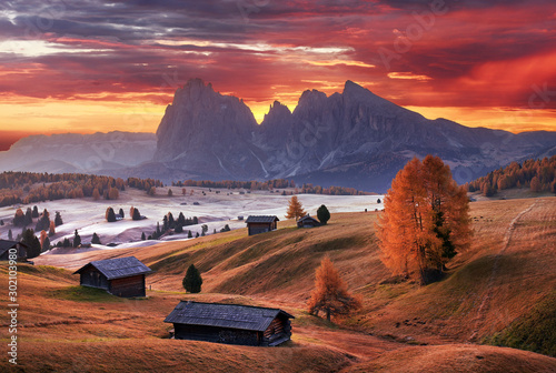 Foto auf AluDibond Landschaft Alpe di Siusi valley in Italian dolomites